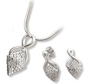 Twisted Bail Diamond Shape Earrings & Pendant Set with Diamond Accent