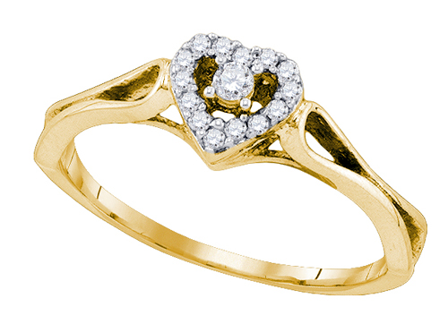 0.12 Ct.tw. Heart Diamond Ring in 10K Yellow Gold