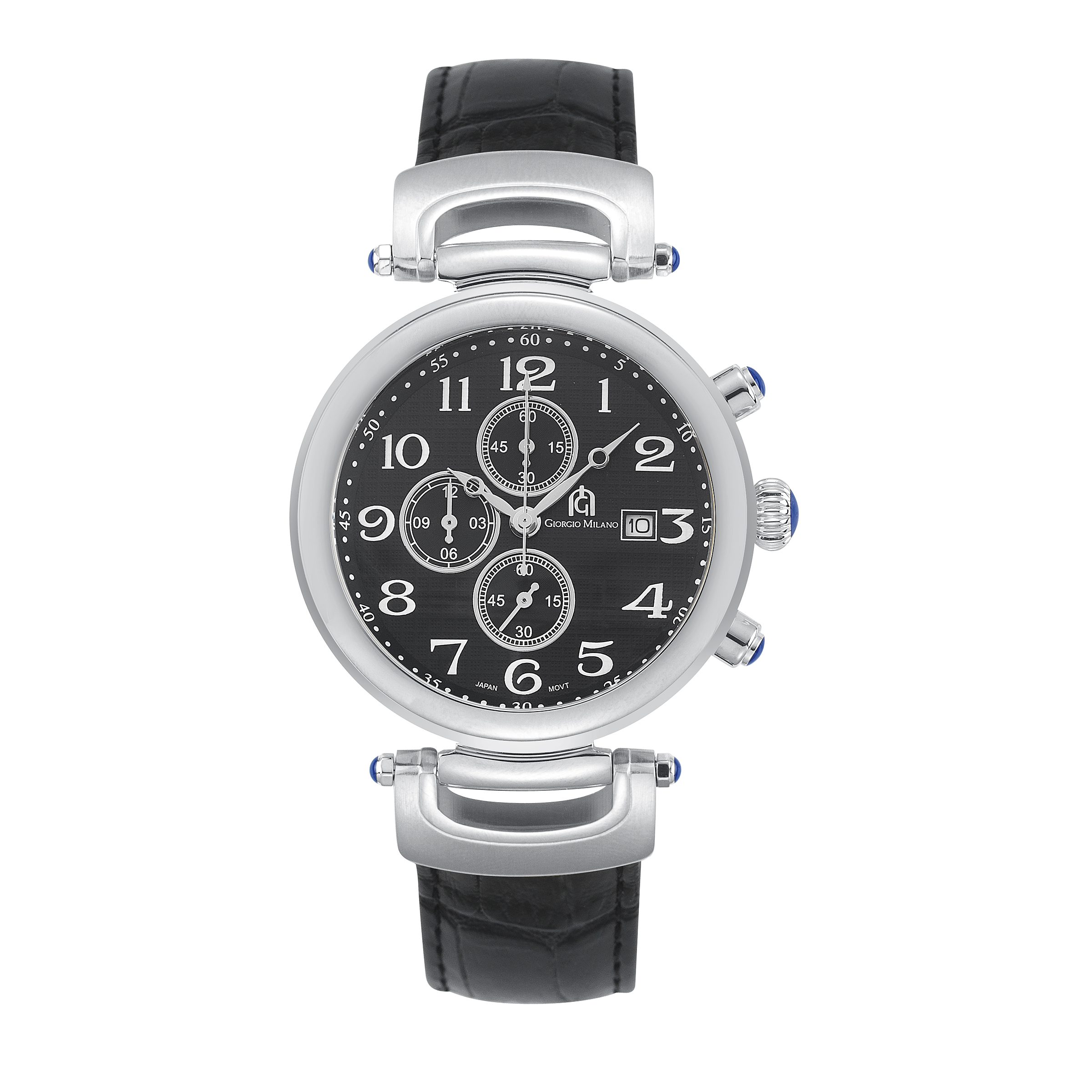 DANTE - Men's Giorgio Milano Stainless Steel Silver Watch with Genuine Leather Straps & Date