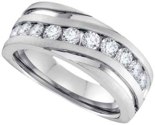 0.50 Ct.tw. Diamond Machine Set Men's Band in 10K White Gold
