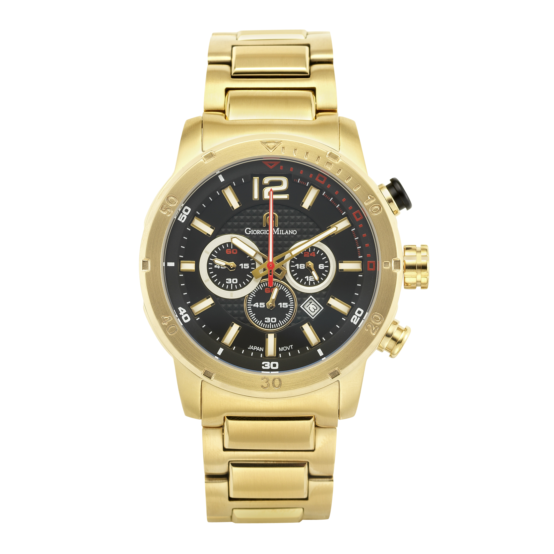 LAGUNA - Men's Giorgio Milano IP Gold Stainless Steel Watch with Three Dials & Date