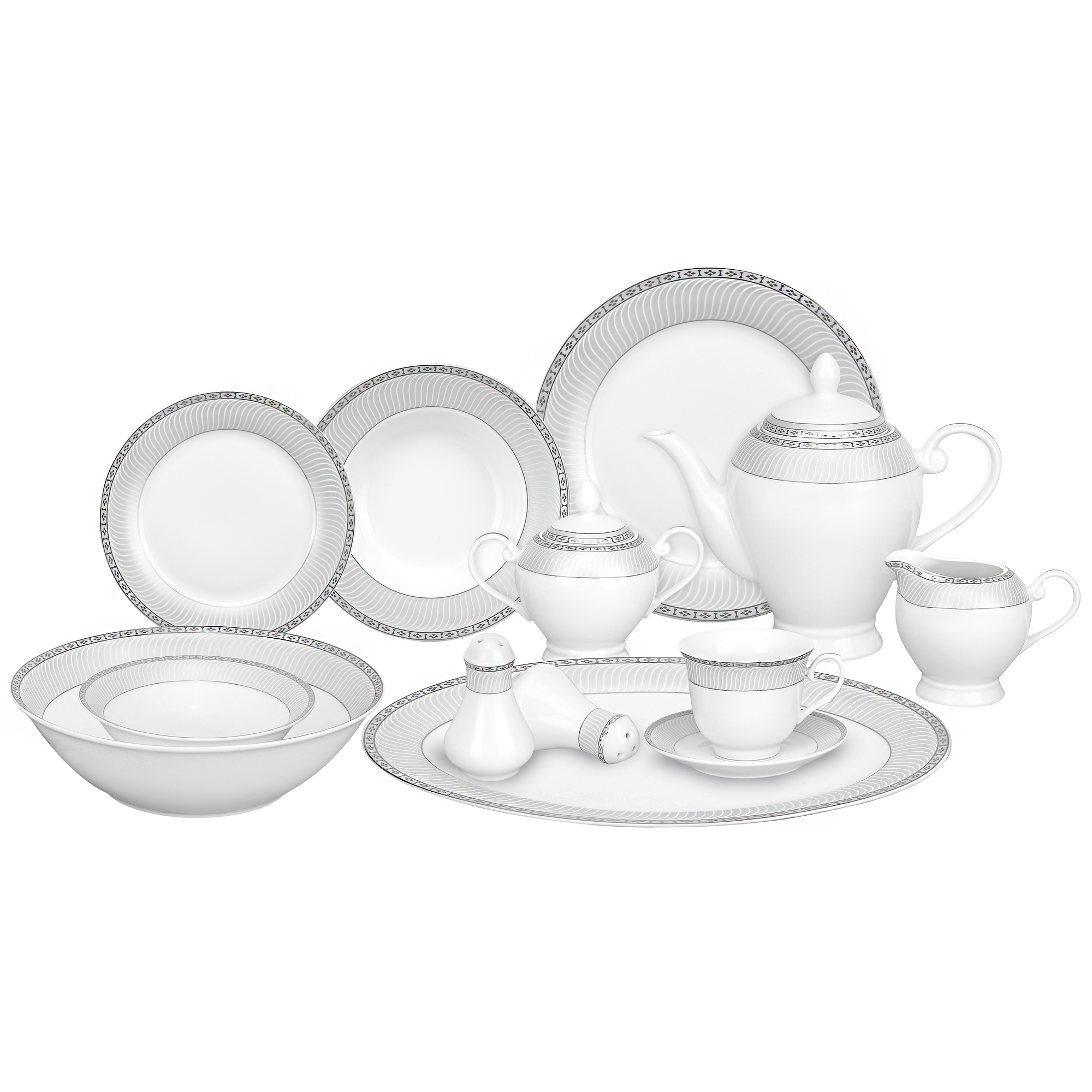 Elegant White u0026 Silver Porcelain Dinnerware Set  sc 1 st  Tronix Country : white and silver dinnerware sets - Pezcame.Com