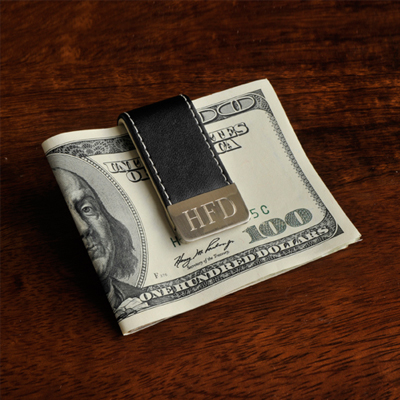 Men's Personalized Money Holder with Metal Trim Clip