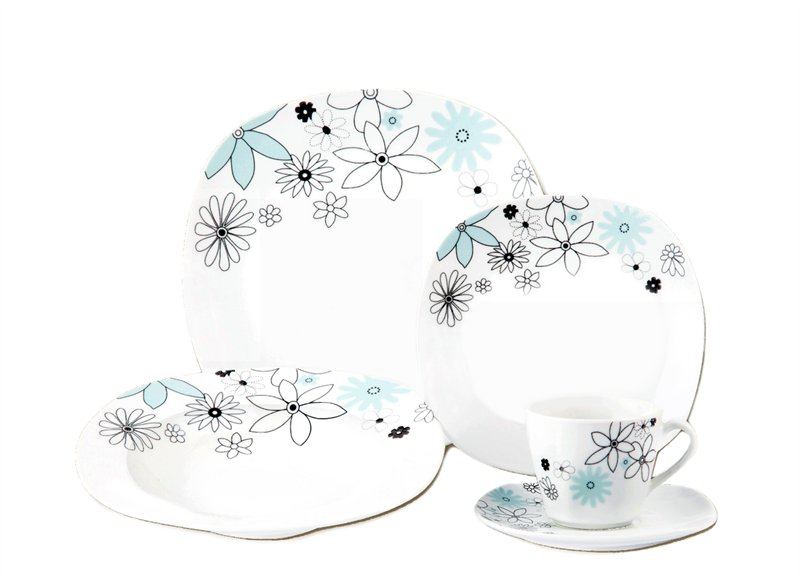 20-Piece Porcelain Square Dinnerware Set - Blue & Black Floral