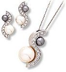 """Opposites Attract"" Pendant and Earrings with Imitation White and Grey Pearls"