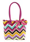 Colorful Zig Zag Covered Quilted Tote Bag
