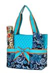 Blue Paisley Print with Accent Bow Diaper Bag