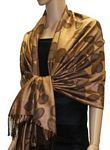 Pashmina Scarf – Tan with Stems & Leaves Pattern