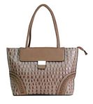 Brown Faux Leather Tote Bag with Braided Details