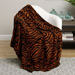 Brown Zebra Print Microplush Blanket