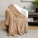 Tan Solid Microplush Blanket