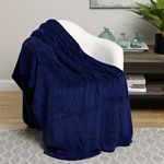Navy Solid Microplush Blanket