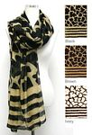 Animal and Striped Print Scarf