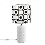 Modern Black And White Table Lamp - Round