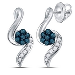 Sterling Silver Womens Round Blue Color Enhanced Diamond Cluster Stud Earrings 1/5 Cttw