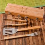 Personalized Grill Set - BBQ Set - Bamboo Case