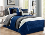 Navy and Gray Comforter Set - Queen