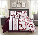 IVA Burgundy/White Comforter Set