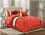 Liv Pinch Pleat Orange Comforter Set