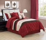 Multi Burgundy/Coffee/Ivory Comforter Set