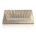 Pleated Satin Evening Clutch with Rhinestones