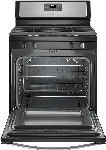 "Whirlpool 30"" Self Cleaning Freestanding Gas Range Black on Stainless Steel"