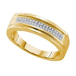 0.12 Ct.tw. Diamond Micro Pave Men's Band in 10K Yellow Gold