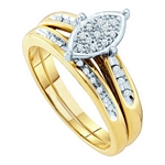 0.12 Ct.tw. Marquise Shape Diamond Bridal Set in 10K Yellow Gold