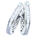Sterling Silver Baguette Diamond Channel - Set Womens Oblong Hoop Earrings 1/4 Cttw