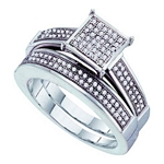 0.33 Ct.tw. Diamond Fashion Bridal Set in .925 Sterling Silver with White Gold Plating