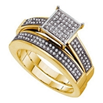 0.33 Ct.tw. Diamond Fashion Bridal Set in .925 Sterling Silver with Yellow Gold Plating