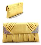 Layered Design with Gem Bedazzled Corners Clutch Purse