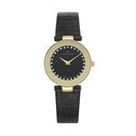 NICOLETTA - Women%27s Giorgio Milano Stainless steel IP gold with black leather strap