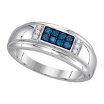 0.33 Ct.tw Blue Diamond Fashion Men's Ring in 10K White Gold