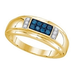 0.33 Ct.tw Blue Diamond Fashion Men's Ring in 10K Yellow Gold