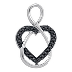 Sterling Silver Womens Round Black Color Enhanced Diamond Heart Infinity Pendant 1/10 Cttw