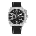 MARINO - Men%27s Giorgio Milano Stainless Steel IP black Watch with Genuine Leather Straps
