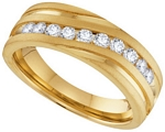 0.50 Ct.tw. Diamond Machine Set Men's Band in 10K Yellow Gold