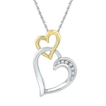 Two-Tone Sterling Silver Womens Round Diamond Double Heart Pendant 1/3 Cttw