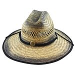 Men%27s Rush Straw Hat with Chin Cord - Black