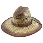 Men%27s Rush Straw Hat with Chin Cord - Brown