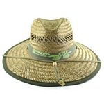 Men%27s Rush Straw Hat with Chin Cord - Olive