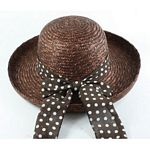 Ladies Wheat Braid Hat with Brown Trim - Brown