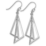 Silver Dangling Triangle Design with Clear CZ%27s