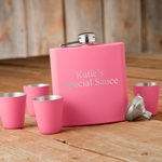 Matte Pink Flask and Shot Glass Gift Box Set