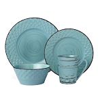 16 Piece Lorren Home Trends Distressed Weave Dinnerware Set - Blue