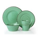 16 Piece Lorren Home Trends Distressed Weave Dinnerware Set - Green