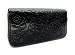 Rose Engraved Patent Zip Wallet