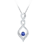 Sterling Silver Round Lab-Created Blue Sapphire Solitaire Diamond Pendant 1/5 Cttw
