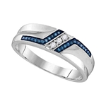 Sterling Silver Round Blue Color Enhanced Diamond Wedding Band 1/5 Cttw